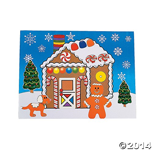 12 Large MAKE a GINGERBREAD HOUSE Sticker Sheets/Christmas CRAFT/ACTIVITY/8.5