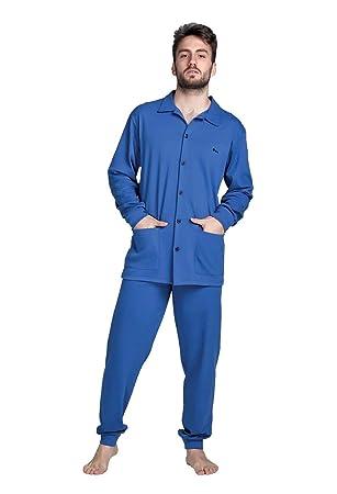 Pijama Abierto Hombre Manga Larga cálido Algodón Tallas Grandes Biss Boss Marsala Made in Italy,