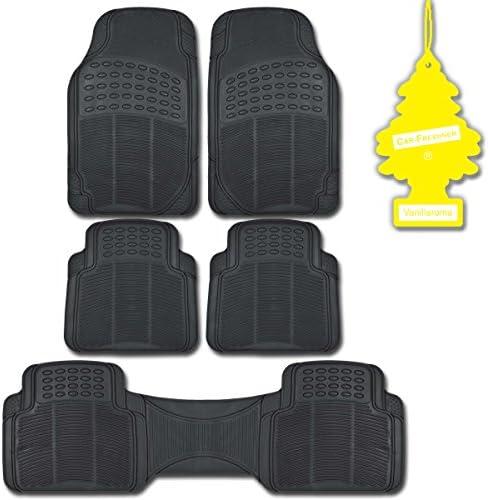 BDK Black 5 Piece All Weather Ridgeline Heavy Duty PVC Rubber Mats w/Vanilla