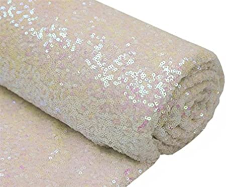 1 Yard, Champagne Blush by The Yard 3 Feet 1 Yards-Sequin Fabric Linen Tablecloth for Xmas Decor Sequin Fabric