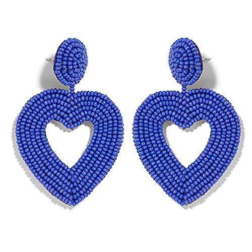 Drop Earrings Heart Jewelry (Statement Drop Earrings - Bohemian Beaded Round Dangle Earrings Gift for Women (Heart Blue))
