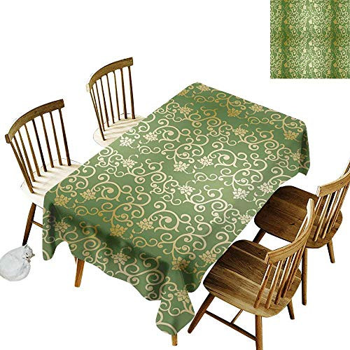 - kangkaishi Sage Easy to Care for Leakproof and Durable Long tablecloths Outdoor Picnic Old Fashioned Pattern with Vintage Curls Swirls Traditional Artistic Floral Flourishes W14 x L72 Inch Green Gold