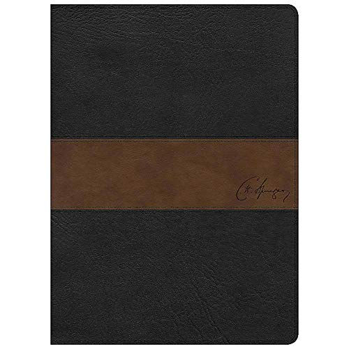 CSB Spurgeon Study Bible, Black/Brown LeatherTouch® - Falls Brown Marble