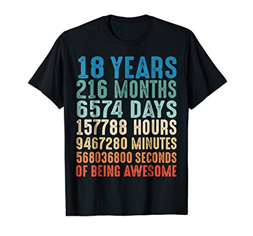 18 Years Old 18th Birthday Vintage Retro T Shirt 216 Months ()