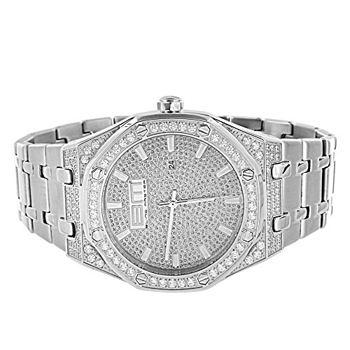 Iced Out Mens Watch Hip Hop Simulated Diamonds Steel Back Jojino Jojo Quartz 44mm by Master Of Bling