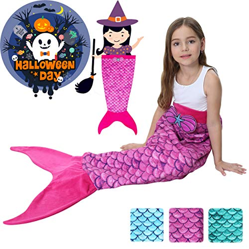Halloween Mermaid Tail Blanket for Girls Flannel Warm All Seasons Wearable Blankets Sleeping Bags Cosplay party favors Best Great Gift for Friends Family Apply to Bedroom Sofa Beach Outdoor Role Play for $<!--$22.99-->