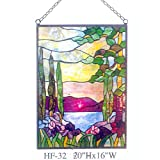 HF-32 Tiffany Style Stained Glass Blooming Flower with Vase Rectangle Window Hanging Glass Panel Sun Catcher, 20''Hx16''W