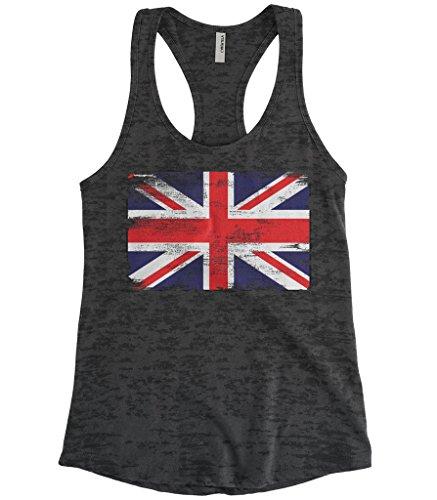 ded Great Britain England Flag Burnout Racerback Tank Top (Black, Large) ()
