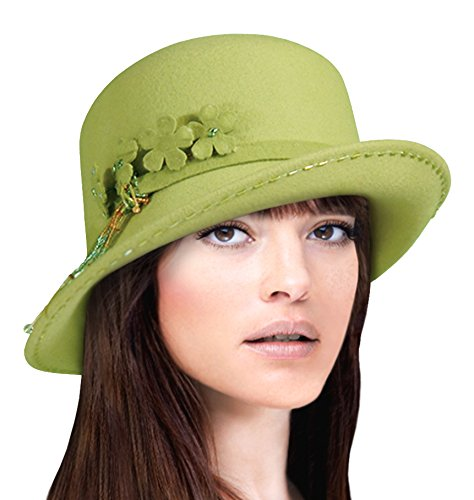 Mr. Song Millinery Soft As Cashmere Felt Bucket Fedora Hat With Turned Up Brim - MW47900 (Kiwi ()