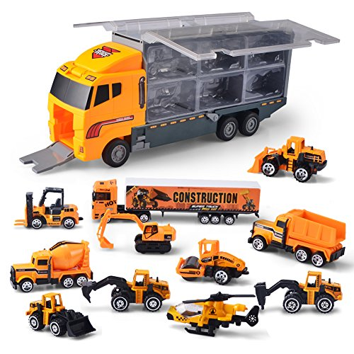 (JOYIN 11 in 1 Die-cast Construction Truck Vehicle Car Toy Set Play Vehicles in Carrier Truck)