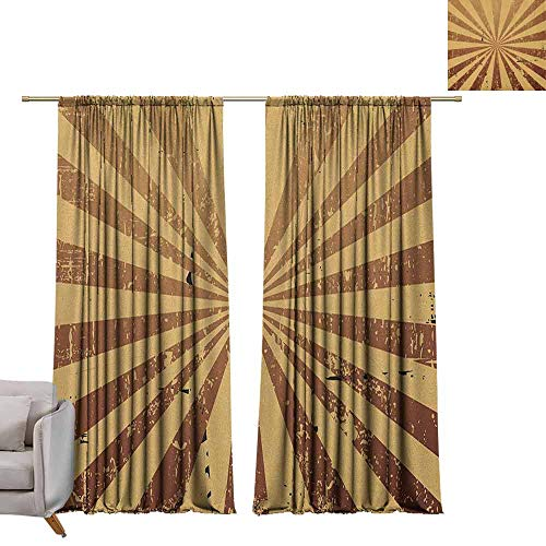 berrly Blackout Grommet Curtains Tan,Sunburst Pattern Aged Rusty Jagged Grungy Retro Style Rays Old Worn Composition, Brown Pale Brown W84 x L108 Kids Blackout Curtains