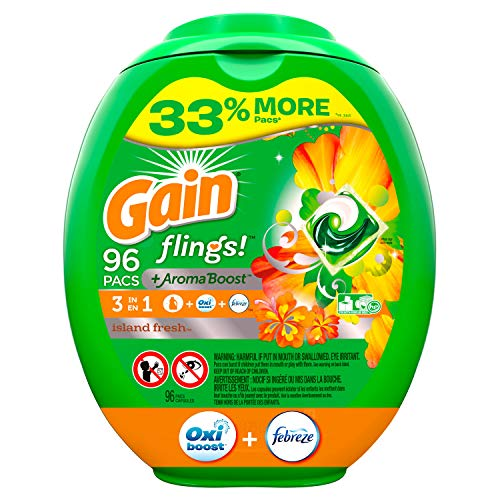 Gain flings! Liquid Laundry Detergent Pacs, Island Fresh, 96 Count Only $18.21