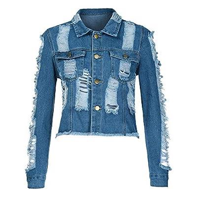 Classic Womens Hole Short Denim Coat Denim Casual Jacket Outwear Denim Overcoat