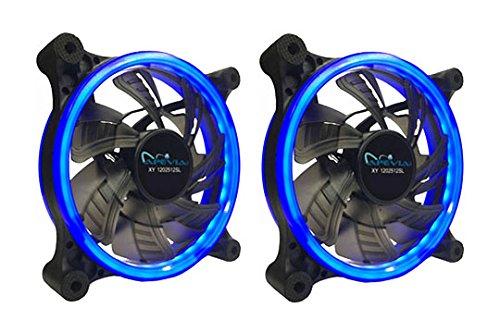 APEVIA 212L-CBL 120mm Silent Dual Rings Blue LED Fan with 32 x LEDs & 8 x Anti-Vibration Rubber Pads (2 Pk)