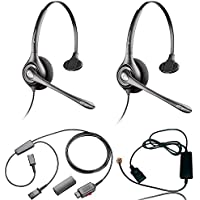 Plantronics HW251n Headset Training Bundle | Headsets, Telephone Interface Cable, Y-Training Splitter Cord (with Mute button) | Use for Coaching, Supervising, Training, Monitoring