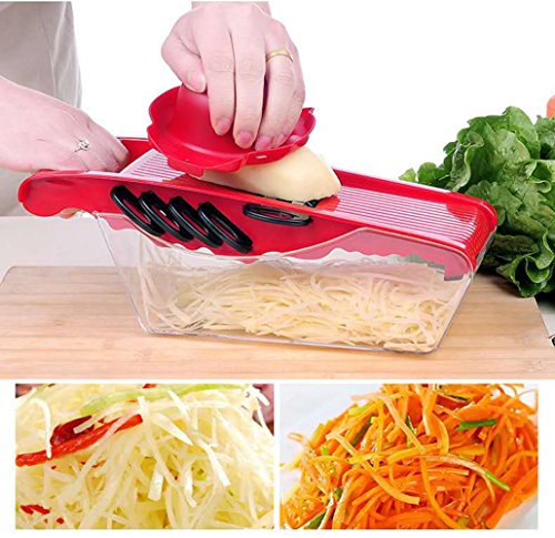 SuperB2C 5 in 1 Mandoline Slicer,Julienne Vegetable Slicer,Food Container Cutter for Cucumber, Onion, Cheese with 5 Stainless Steel Blades (Red)