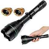 UniqueFire New Arrivel UF1508 Black IR 850NM T67 67MM Lens Infrared Light Night Vision Flashlight Adjustable Focus Zoomable Torch+ 2X Pill (1x Red Light +1x Green Light) for Night Huting