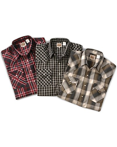 Tall Stripe Western Shirt - ELY CATTLEMAN Men's Assorted Plaid Or Stripe Short Sleeve Western Shirt Plaid Medium