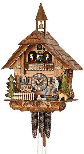 German Cuckoo Clock 1-day-movement Chalet-Style 16.00 inch - Authentic black forest cuckoo clock by Hekas