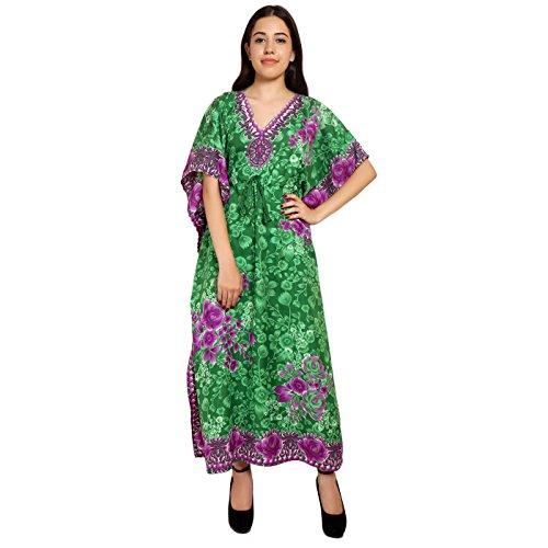 Women Dress Tunic Ladies Indian Summer Beach Top Kaftan Hippie Boho Party Dress - Green