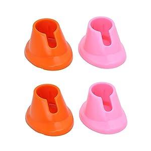 4PCS Nail Polish Bottle Holder Soft Rubber Orange and Pink Anti-Spill Nail Polish Stand Display Manicure Tools for Home Shop Beauty Salon (Orange + Pink) (Orange + Pink)