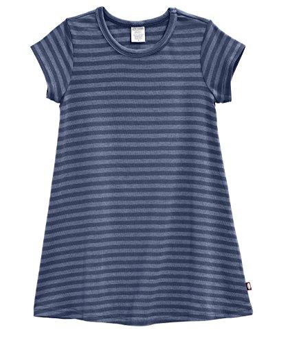 City Threads Little Girls' Cotton Short Sleeve Cover Up Dress for Sensitive Skin SPD Sensory Friendly, Stripe Midnight 6