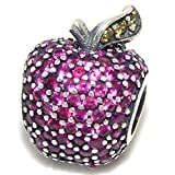 "Solid 925 Sterling Silver Dangling ""Red CZ Apple"" Charm Bead 564 for European Snake Chain Bracelets"