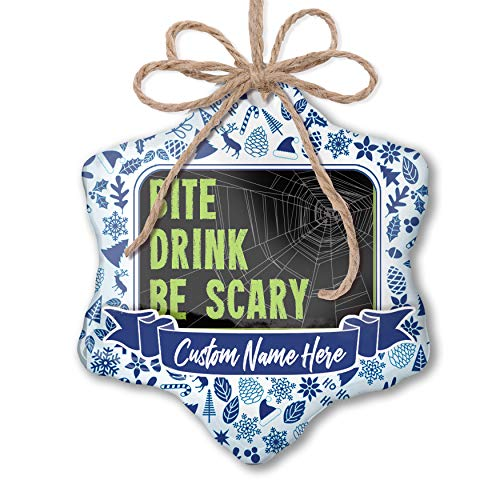NEONBLOND Custom Tree Ornament Bite Drink Be Scary Halloween Creepy Green Spider Web with Your -