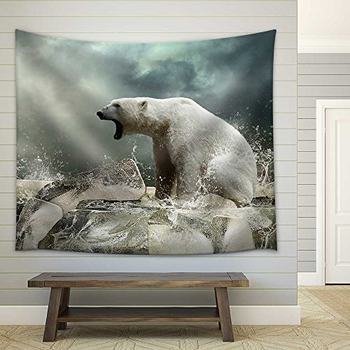 White Polar Bear Hunter on the Ice in Water Drops Fabric Wall