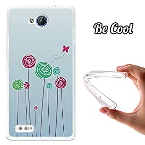 BeCool® - Funda Gel Flexible Meo Smart A40 Baby on Board Flores Carcasa Case Silicona TPU Suave