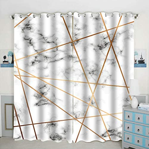 QH Marble Texture Design Window Curtain Panels Blackout Curtain Panels Thermal Insulated Light Blocking 42W x 84L inch Set of 2 Panels