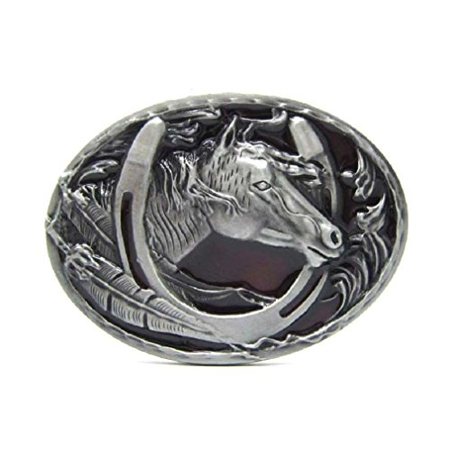 Cowboy Rodeo Horse Head and Horseshoe Belt Buckle Vintage Western Oval Emboss from Fancy Apparel