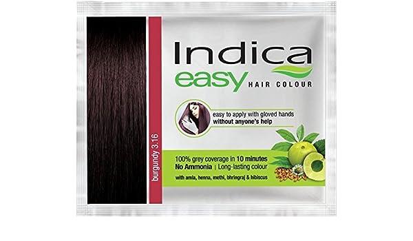 00bd0ebee04ba Amazon.com: 10 Pc Indica Easy10 Minutes Herbal Hair Color Shampoo Base  Burgundy Herbs: Health & Personal Care