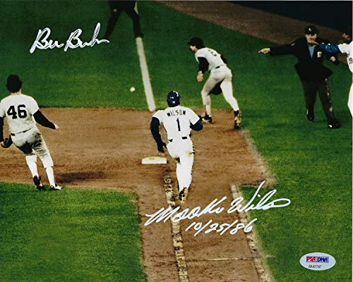 Mookie Wilson/Bill Buckner Dual Signed 8x10 Photograph From the 1986 World Series. Picture (Sports Photographs)