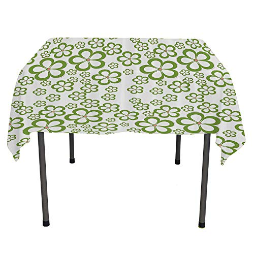 House Decor Collection, Waterproof Table CoverDaisy Floral Pattern Summer Garden Greenery Grass Field Modern Flower Art, for Outdoor and Indoor Use, 36x36 Inch Green White
