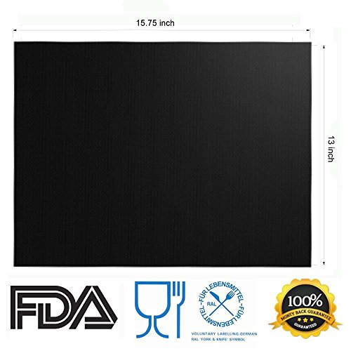 Grill Mat Set of 6 - 100% Non-Stick BBQ Grill Mats, Heavy Duty, Reusable, and Easy to Clean - Works on Electric Grill Gas Charcoal BBQ - Extended Warranty - 15.75 x 13-Inch, Black by Renook (Image #1)'
