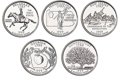 1999 P, D BU Statehood Quarters - 10 coin Set Uncirculated ()