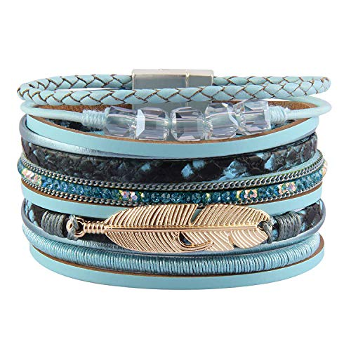 Blue Leather Bangle - RONLLNA Tree of Life Leather Cuff Bracelet Wrap Bangle Boho Bracelets with Pearl for Women Teen Girl Boy Gifts (Brown Cuff Bracelet) (Blue Crystals)