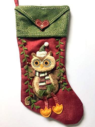 Holiday Time Christmas Stocking Embellished Owl