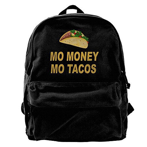 AHOOCUSTOM Mo Money Mo Tacos Canvas Shoulder Backpack Men & Women Canvas Backpack School Laptop Bag Hiking Travel Rucksack (Bag Canvas Bowler)