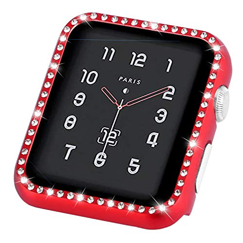 (Coobes Compatible with Apple Watch Case 38mm 42mm, Metal Bumper Protective Cover Women Bling Diamond Crystal Rhinestone Shiny Compatible iWatch Series 3/2/1 (Diamond-Red, 42mm))