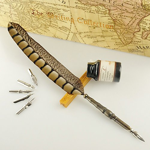 Antique Feather Copper Pen Stem Metal Nibbed Pen Writing Quill LL-14 by GC Writing Quill (Image #7)