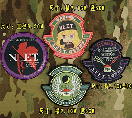 4pcs Evangelion EVA 210 N.E.E.T. NERV Japan Anime Military Patch Fabric Embroidered Badges Patch Tactical Stickers for Clothes with Hook & Loop