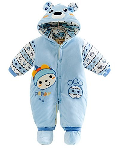 Infant Baby Winter Romper Coat Front Button Jumpsuit Hooded Outerwear Blue 6M
