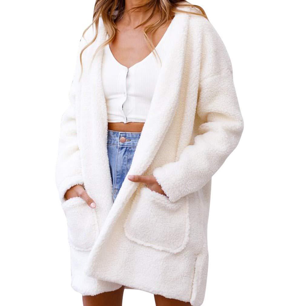 iQKA Women Fashion Puffy Coat Faux Fur Hooded Cardigan Jacket Winter Parka Outerwear iQKA-Women-1004