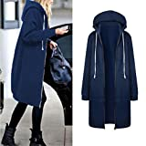 LUNIWEI Women's Fashion Autumn Winter Warm Zipper Open Hoodies Long Coat (Blue, L5)