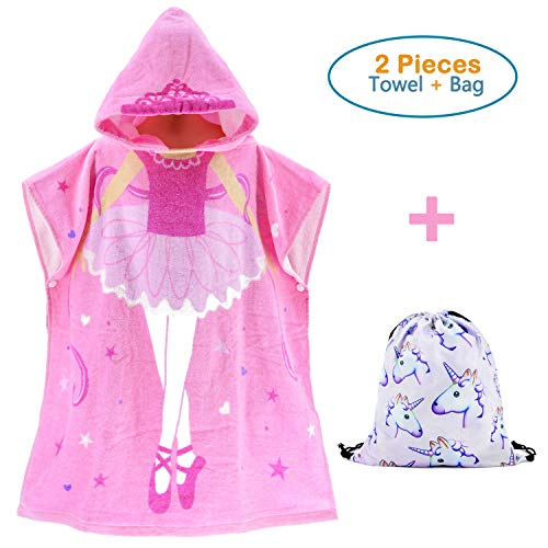 100% Cotton Hooded Beach Towels for Girls,Large Poncho with a Unicorn Draw String Backpack (Dancing Girl 23.6 x 39.4'') by Sunny Bear