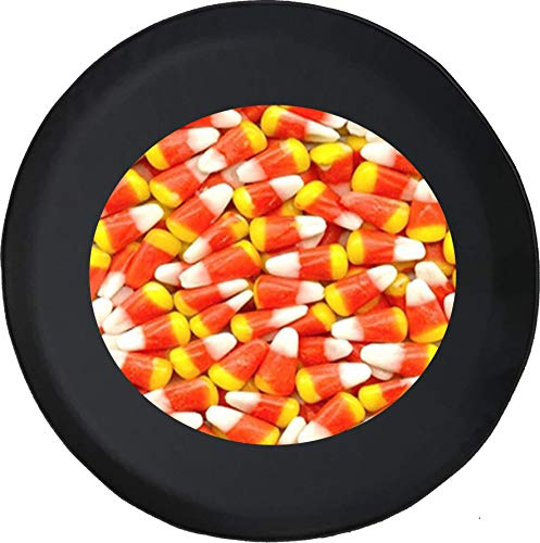 556 Gear Candy Corn Halloween Spirit Sweet Tooth Sugar Rush Tasty Treat Jeep Spare Tire Cover Black 28 in]()