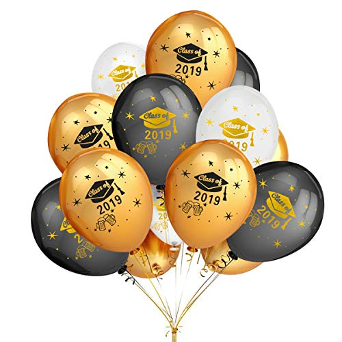 2019 Graduation Balloons Party Decorations,50Pcs Gold & Black & White Color Latex Graduation Balloons- Graduation Party Decoration Supplies (Balloons Graduations)