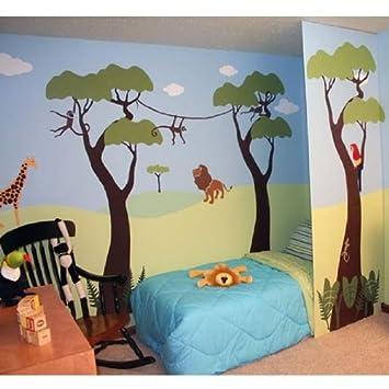 Amazoncom Wild Jungle Safari Wall Mural Stencil Kit Baby